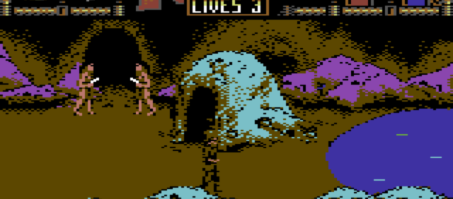 475953-tusker-commodore-64-screenshot-in-a-cave-locals-guard-the